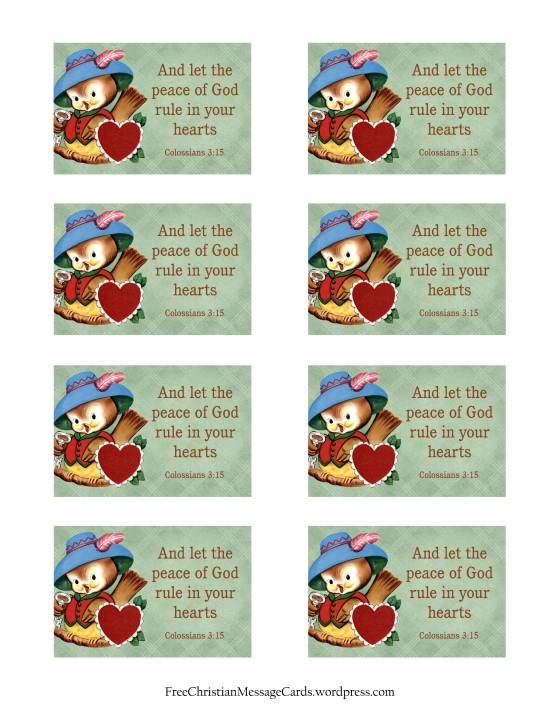 And let the peace of God rule in your hearts Christian message card print page